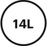 icône de description Volume 14litres