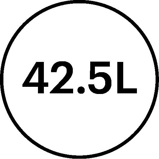 42.5 litre volume feature icon