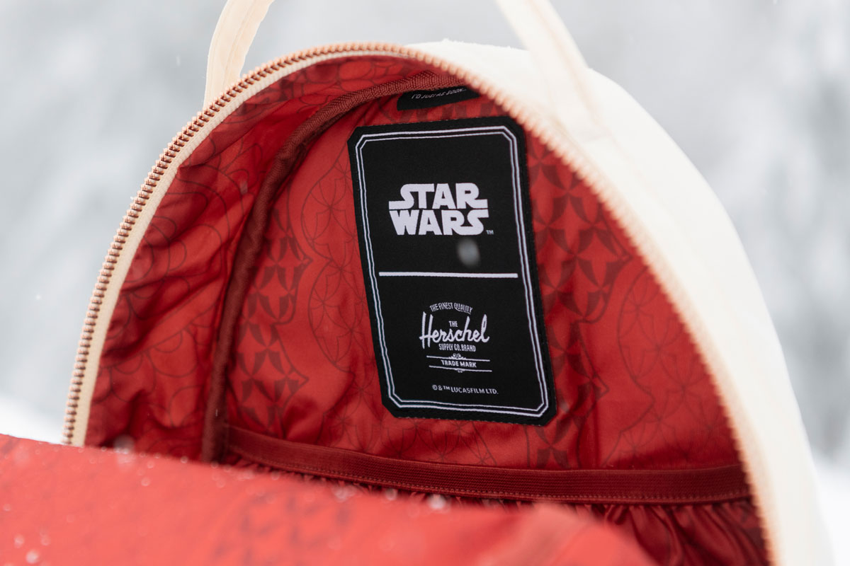 interior of the nova mid backpack showing the herschel and star wars labels