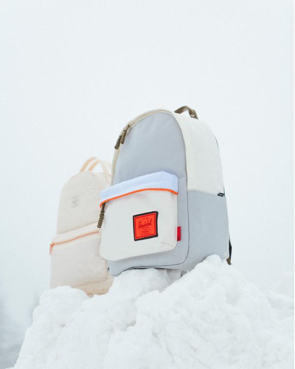 Un sac à dos Luke Skywalker Classic XL et un Nova Backpack Mid-Volume Princess Leia dans la neige